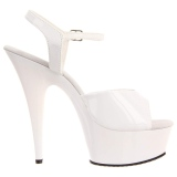 Blanco 15 cm DELIGHT-609 tacones altos pleaser con plataforma