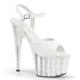 Blanco 18 cm ADORE-709VLRS plataforma zapatos de tacón con piedras