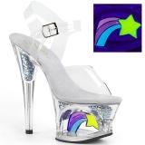 Blanco 18 cm MOON-708RSS Neon plataforma sandalias de tacón alto