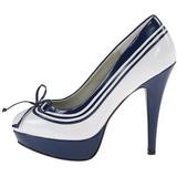 Blanco Azul 13 cm LOLITA-13 Zapato Salón de Noche con Tacón