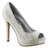 Blanco Brillo 12 cm LUMINA-27G Zapato Salón para Fiesta con Tacón