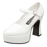 Blanco Charol 11 cm MARYJANE-50 Mary Jane Plataforma Zapato de Sal�n