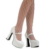 Blanco Charol 11 cm MARYJANE-50 Mary Jane Plataforma Zapatos de Salón