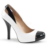 Blanco Charol 12,5 cm EVE-07 zapatos de salón tallas grandes