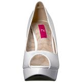 Blanco Charol 13,5 cm CHLOE-01 zapatos de salón tallas grandes