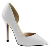 Blanco Charol 13 cm AMUSE-22 Zapato Salón Clasico para Mujer