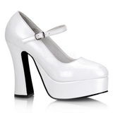 Blanco Charol 13 cm DOLLY-50 Mary Jane Plataforma Zapatos de Salón