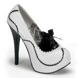 Blanco Charol 14,5 cm BORDELLO TEEZE-01 Plataforma Zapatos de Salón