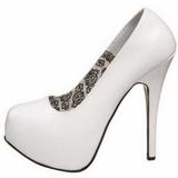 Blanco Charol 14,5 cm Burlesque BORDELLO TEEZE-06 Plataforma Zapatos de Salón