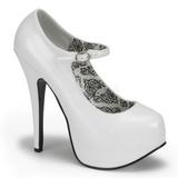Blanco Charol 14,5 cm Burlesque BORDELLO TEEZE-07 Plataforma Zapatos de Salón