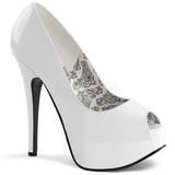 Blanco Charol 14,5 cm Burlesque TEEZE-22 Stiletto Zapatos Tacón de Aguja