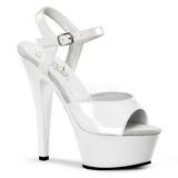 Blanco Charol 15 cm KISS-209 Zapatos Tac�n Aguja Plataforma