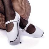 Blanco Charol 18 cm BALLET-08 Fetish Zapatos de Salón