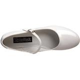 Blanco Charol 5 cm SCHOOLGIRL-50 Zapato Salón Clasico para Mujer