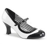 Blanco Charol 7,5 cm JENNA-06 zapatos de salón tallas grandes