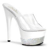 Blanco Diamante 18 cm Pleaser ADORE-701-3 Plataforma Mules Altos