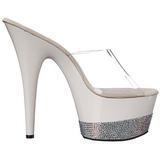Blanco Diamante 18 cm Pleaser ADORE-701-3 Plataforma Mules Altos