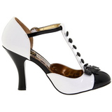 Blanco Gamuza 10 cm SMITTEN-10 Rockabilly zapatos de salón tacón bajo