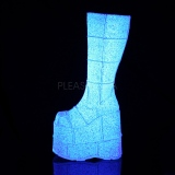 Blanco Glitter 18 cm STACK-301G botas demonia - botas de cyberpunk unisex