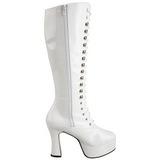 Blanco Lacado 10,5 cm EXOTICA-2020 Botas de Cordones Mujer
