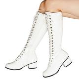 Blanco Lacado 5 cm RETRO-302 Botas de Cordones Mujer