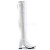 Blanco Lacado 8 cm GOGO-3000 Botas mosqueteras over the knee