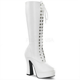 Blanco Mate 13 cm Pleaser ELECTRA-2020 Plataforma Botas Media