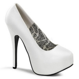 Blanco Mate 14,5 cm BORDELLO TEEZE-06 Plataforma Zapatos de Salón