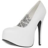 Blanco Mate 14,5 cm Burlesque BORDELLO TEEZE-06 Plataforma Zapatos de Salón