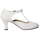 Blanco Mate 7,5 cm retro vintage FLAPPER-26 zapatos de salón tacón bajo