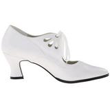 Blanco Mate 7 cm retro vintage VICTORIAN-03 zapatos de salón tacón bajo