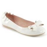 Blanco OLIVE-03 bailarinas zapatos planos con corbata de moño