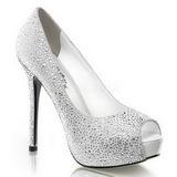 Blanco Piedras Strass 13 cm PRESTIGE-16 Plataforma Zapatos de Salón