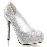 Blanco Piedras Strass 13 cm PRESTIGE-20 Plataforma Zapato Sal�n