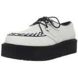 Blanco Piel 5 cm CREEPER-402 Zapatos de Creepers Hombres Plataforma