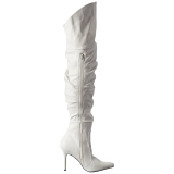 Blanco Polipiel 10 cm CLASSIQUE-3011 Largas Botas Altas Del Muslo