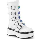 Blanco Polipiel 5 cm EMILY-330 plataforma botas de mujer con hebillas