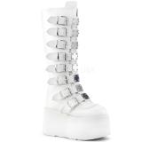 Blanco Polipiel 9 cm DAMNED-318 plataforma botas de mujer con hebillas