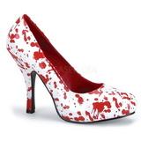 Blanco Rojo 13 cm BLOODY-12 Góticos Zapatos de Salón
