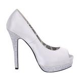 Blanco Satinado 13,5 cm BELLA-12R Strass Plataforma Zapato Salón
