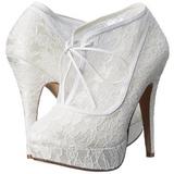 Blanco Satinado 13 cm LOLITA-32 Zapato Salón de Noche con Tacón