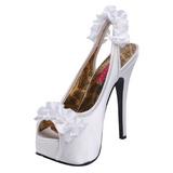 Blanco Satinado 14,5 cm Burlesque TEEZE-56 Zapatos de Tacón Alto