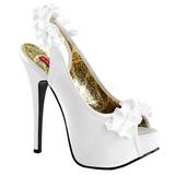 Blanco Satinado 14,5 cm TEEZE-56 Zapatos de Tacón Alto