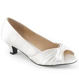 Blanco Satinado 5 cm FAB-422 zapatos de salón tallas grandes