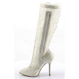 Blanco Tela de Encaje 13 cm AMUSE-2012 Botas de tacón de mujer