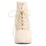 Blanco Tela de Encaje 5 cm DAME-05 Botines de Cordones Altos Mujer