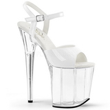 Blanco Transparente 20 cm Pleaser FLAMINGO-809 Tacones Altos Plataforma