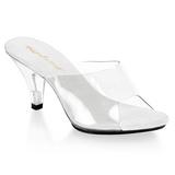 Blanco Transparente 8 cm BELLE-301 Mulas Tacones Altos Mujer