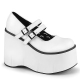 Blanco Vegano 11,5 cm DEMONIA KERA-08 zapatos de salón mary jane plataforma