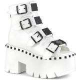 Blanco Vegano 9 cm ASHES-70 lolita botines tacón ancho plataforma